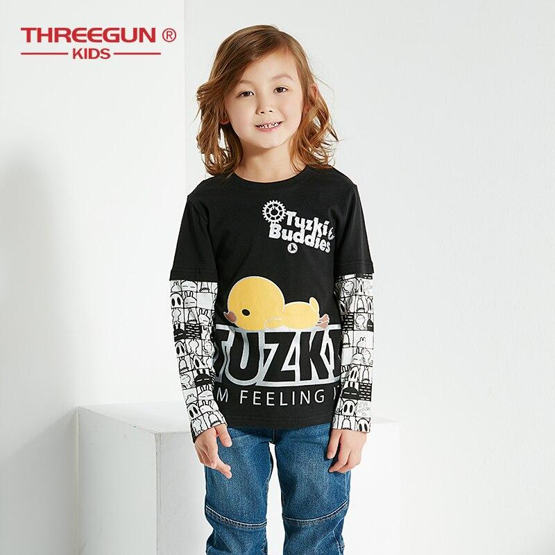 THREEGUN T-Shirts For Boys Cartoon Tuzki Rabbit Duck T Shirt Kids Cotton Baby Boy Tops Teenager Children'S Clothing 12 14 Years