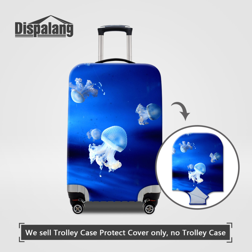 Dispalang Jellyfish Print Travel Suitcase Dust Cover Elastic Stretch Luggage Protective Covers Apply To 18~30 Inch Trolley Case