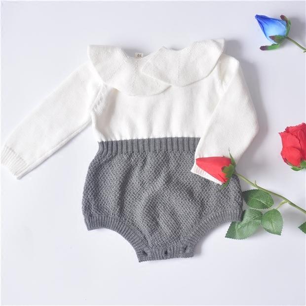 2017 primavera Meninos Das Meninas Do Bebê Camisola de malha folha de lótus gola de babados Romper (escolha o tamanho)