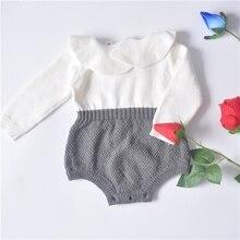 2017 printemps Bébé Filles Garçons Chandail tricoté feuille de lotus à volants col Barboteuse (pick taille)