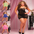 New women sexy lingerie hot Lethal Dose Black Striped Fishnet Mini Chemise Dress  plus size one size XXL 3XL 4XL
