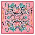 60 CM pink Ladies acessórios mulheres marca lenços quadrados lenço de seda xale moda feminina pescoço lenço De Seda xales zijden dames A079