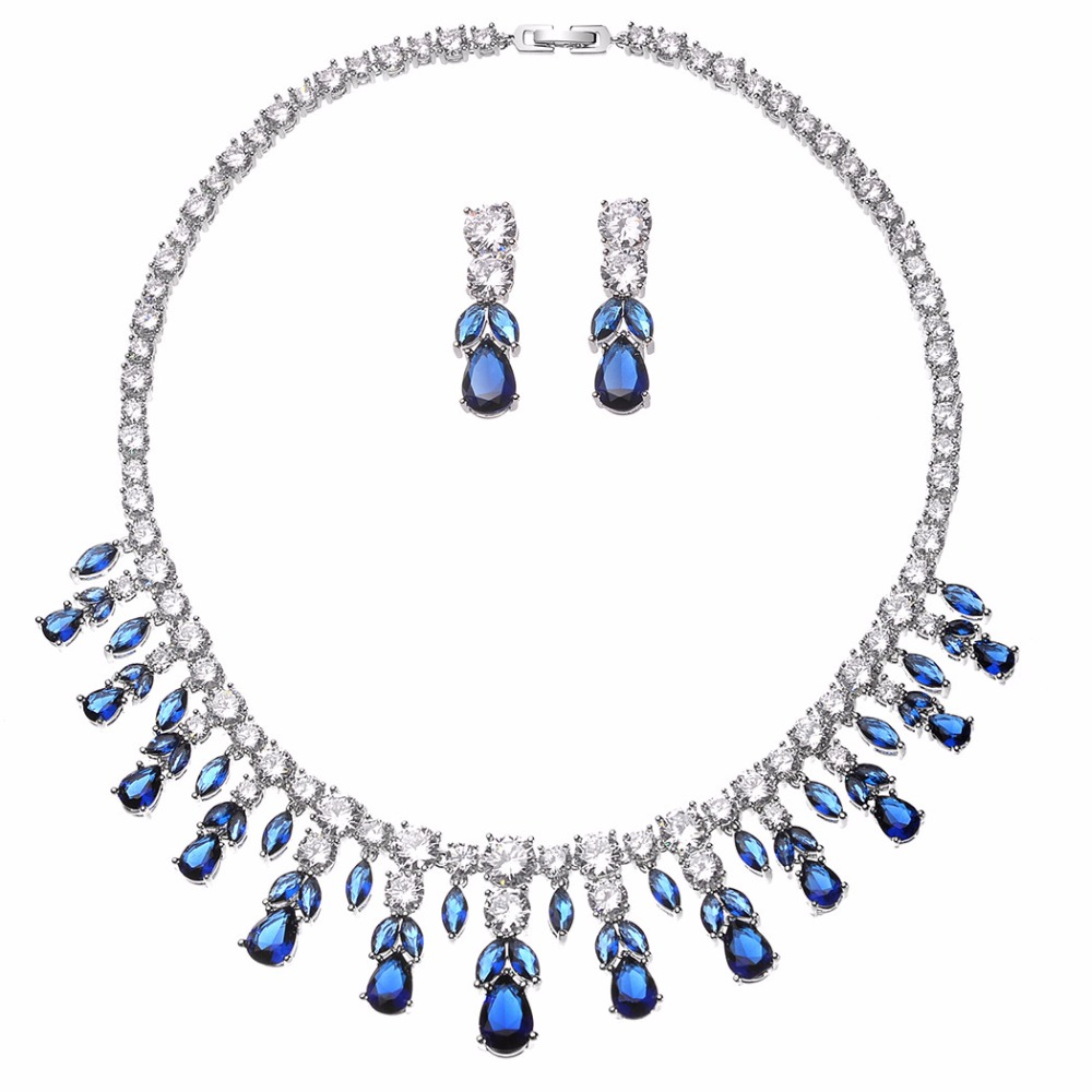 Luxury Blue Red Clear AAA Zirconia Wedding Jewelry Sets CZ Stone Choker Necklace and Earrings Sets Bridal Jewelry Sets for Women viennois new blue crystal fashion rhinestone pendant earrings ring bracelet and long necklace sets for women jewelry sets