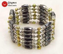 Модный жемчужный браслет qingmos для женщин с коричневым барочным