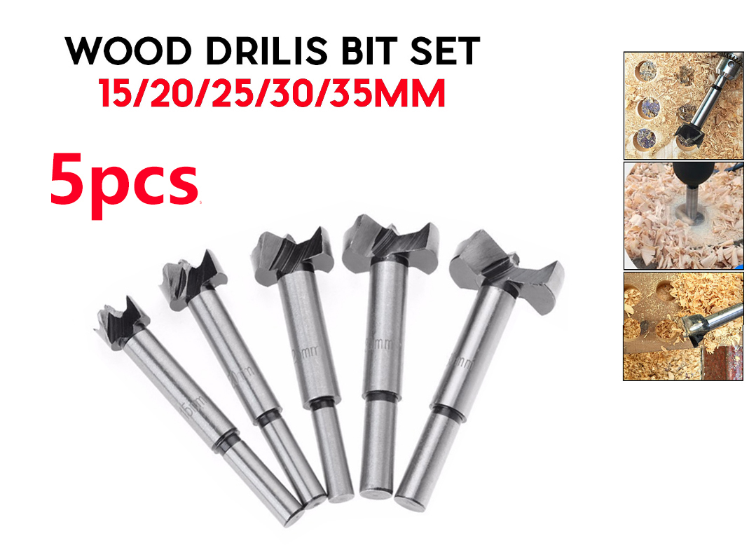 Wholesale 5pcsForstner Wood Drill Bit Self Centering Hole Saw Cutter Woodworking Tools Set 15/20/25/30/35mm Forstner Drill Bits