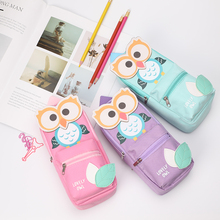 TOPSTHINK Lovely owl pattern pencil bag mini backpack pouch cute fabric case