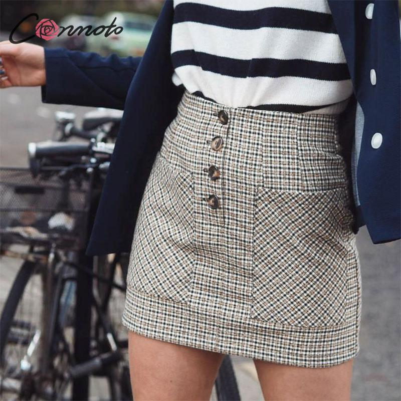 Conmoto 2019 Winter High Waist Skirts Women Button Casual Plaid Female Short Skirt Elegant Pocket Ladies Skirt