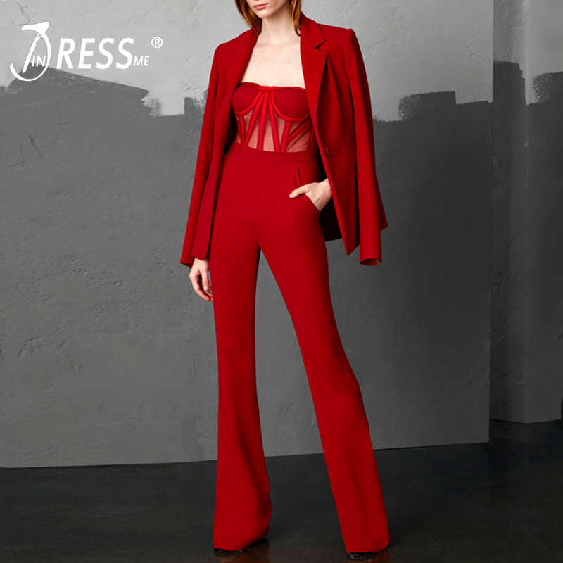 INDRESSME 2019 Fashion V Neck Sexy Business Strap Mesh Jumpsuit 2 Pieces Suits Set Long Sleeve Blazer Women Full Length Pants