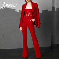 INDRESSME 2018 Fashion V Neck Sexy Business Strap Mesh Jumpsuit 2 Pieces Suits Set Long Sleeve Blazer Women Full Length Pants