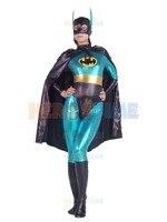 Shiny Blue Batman Metallic Superhero Costume Zentai Halloween Adults Batman Cosplay Bodysuit with Cape