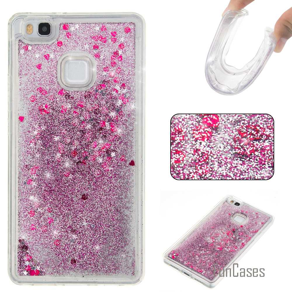 Coque Bling Love Heart Stars Soft Tpu Phone Case Cover Voor Huawei P9 Lite Funda Drijfzand Telefoon Case Voor Huawei ascend P9 Lite)