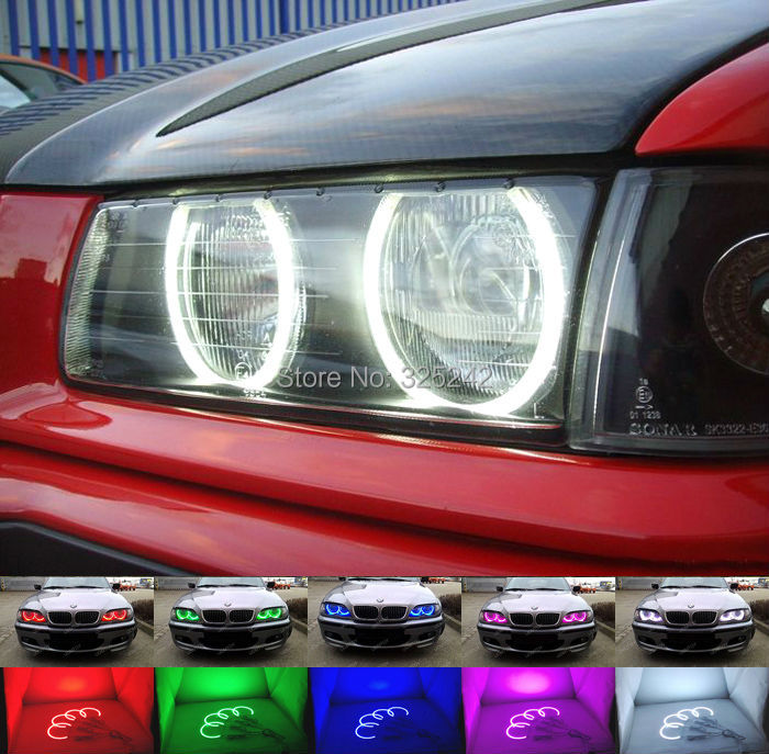 For BMW E36 3 Series with Euro headlights 1992-1998 Excellent Multi-Color Ultra bright 7 Colors RGB LED Angel Eyes Halo Rings цены