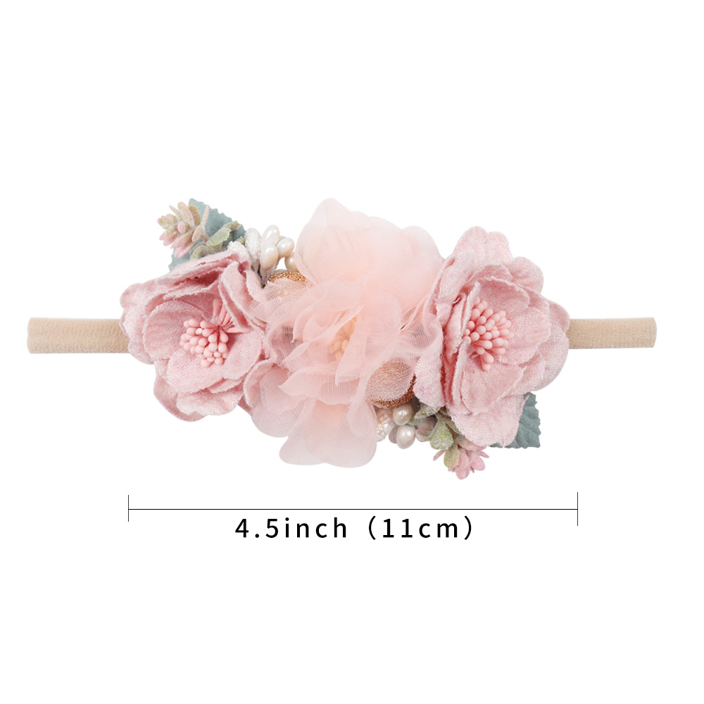 IBOWS Hair Accessories Lovely Baby Headband Fake Flower Nylon Hair Bands For Kids Artificial Floral Elastic Head Bands Headwear 2