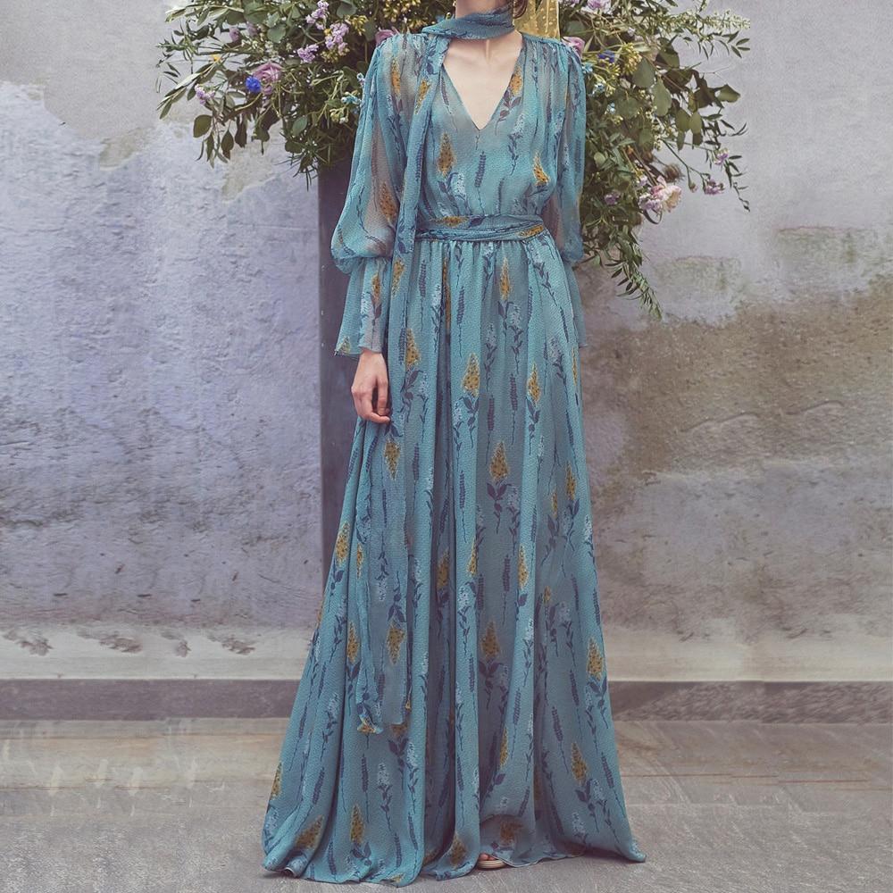 New Autumn High Quality Vintage V neck Long Sleeve Floral Printed Chiffon Maxi Dress 2018 European Designer Runway Dresses
