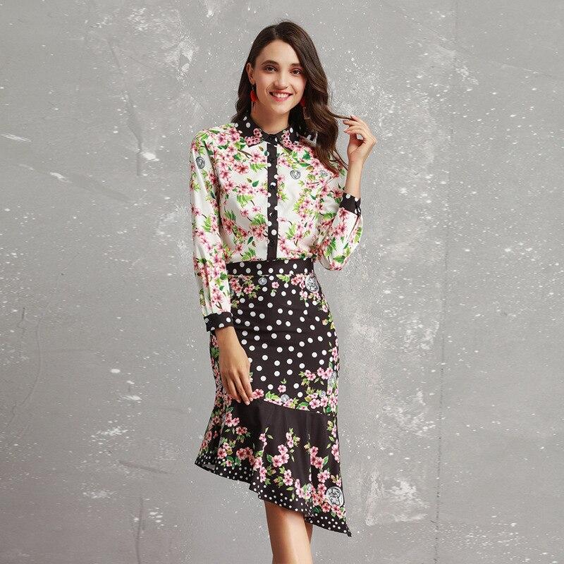 2019 Lente Zomer vrouwen Pakken Europese En Amerikaanse Nieuwe Print Revers Lange Mouwen Shirt + Fishtail Onregelmatige Rok Sets-in Sets voor dames van Dames Kleding op  Groep 1