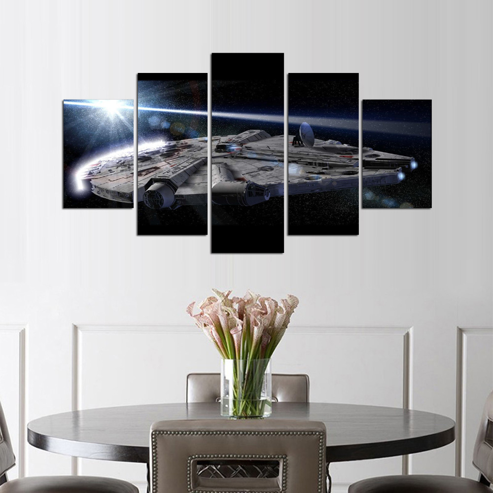 5 panel star war pictures wall art movie poster home for W home decor