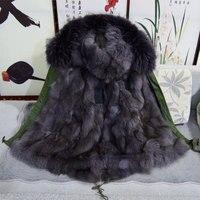Kısa stil İtalya marka fox kürk hood ile tilki kürk astar kış ceket