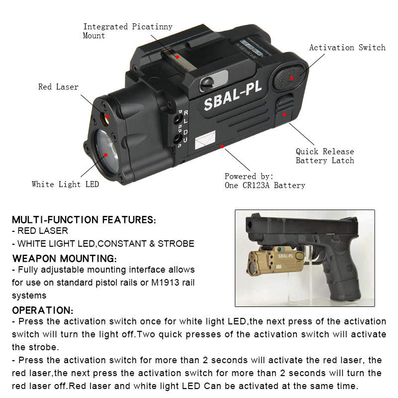 Hot Sale And New Arrival Tactical Weapon Light With Red Laser For Hunting BWF-030 hot sale cayler
