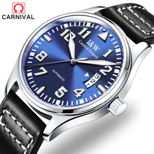 CARNIVAL the new 2017 men's fashion automatic mechanical watch tourbillon leather luxury brand sports watches relogio masculino