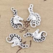 15 pçs encantos cavalo unicórnio cabeça 26x15mm antigo prata cor chapeado pingentes fazendo diy artesanal tibetano prata cor jóias