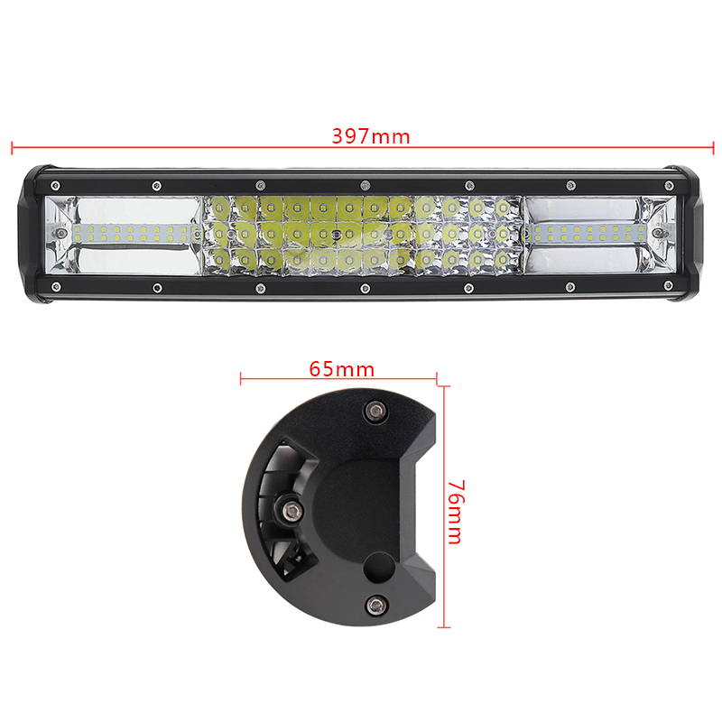 7D 16 Inch 360W Car LED Light Bar Worklight Bar Triple Row Spot Flood Combo Offroad Light Driving Lamp for Truck SUV 4X4 4WD ATV tripcraft 108w led work light bar 6500k spot flood combo beam car light for offroad 4x4 truck suv atv 4wd driving lamp fog lamp