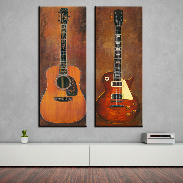 2 Piece Music Studio Room Guitar Top Decorative Wall Paintings For Home  Decor Idea Oil Painting