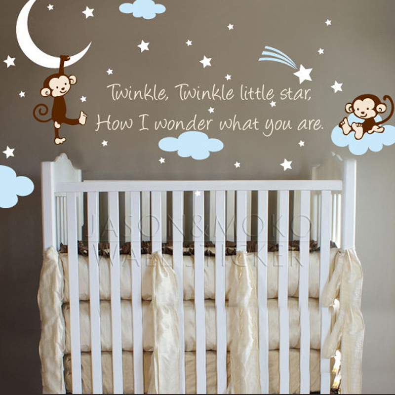 Monkey Clouds Stars Moon Quote Le Star For Nursery Kids Baby Room Bedroom Wall Vinyl Mural Wallpaper Decal 100x190cm In Stickers From Home