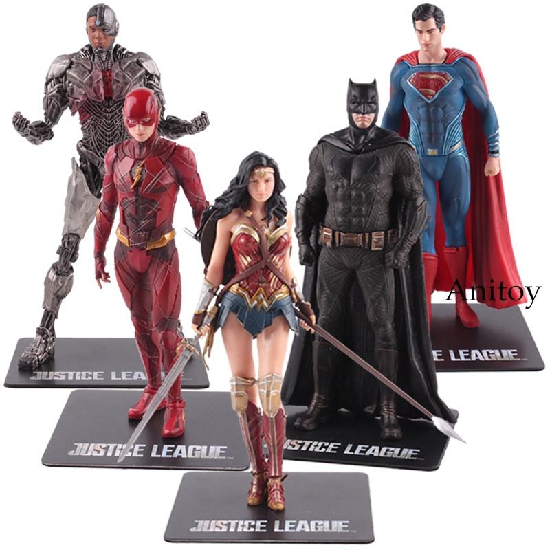 DC Justice League Patung Artfx Batman Flash Superman Cyborg Wonder Woman Action Figure PVC Collectible Model Mainan