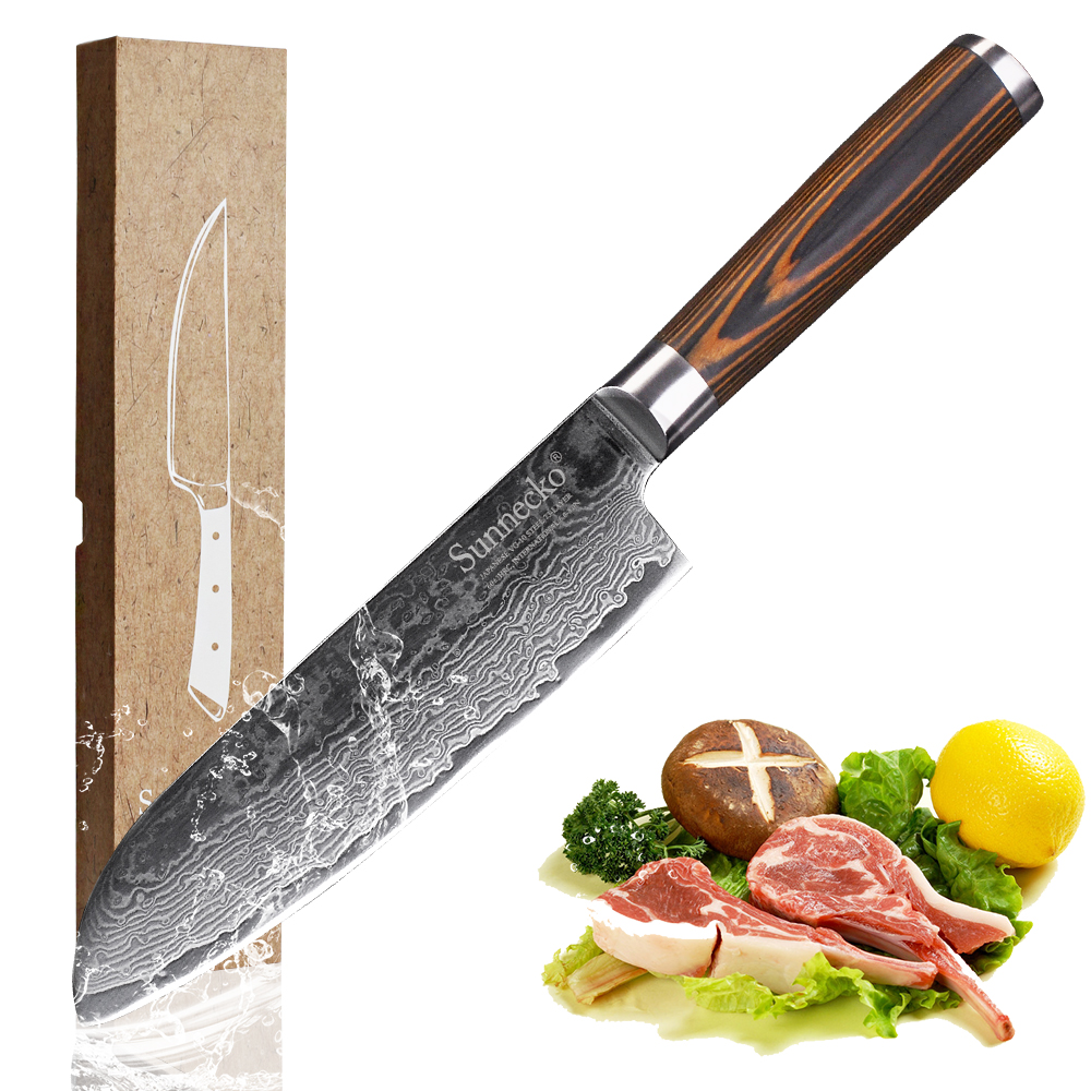 Sunnecko 7 Santoku Damascus Knife Razor Sharp 73 Layers Japanese VG10 Steel Kitchen Knives 59 61HRC