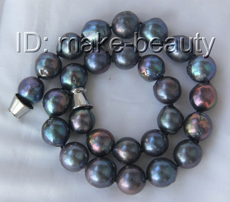 stunning big 15mm round black keshi reborn freshwater pearls necklace h2594stunning big 15mm round black keshi reborn freshwater pearls necklace h2594