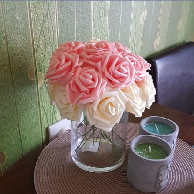 25 Heads 8CM New Colorful Artificial PE Foam Rose Flowers Bride Bouquet Home Wedding Decor Scrapbooking DIY Supplies 2