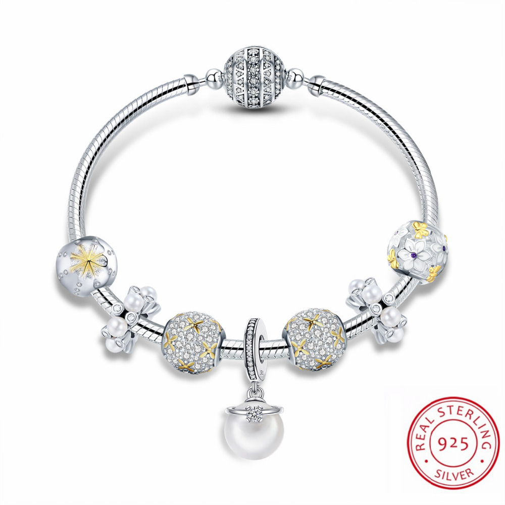 Super Quality 100% Real 925 Sterling Silver Bracelet & Bangles Exquisite Flower Pearl Beads Charms Bracelet Fit Fashion Jewelry все цены