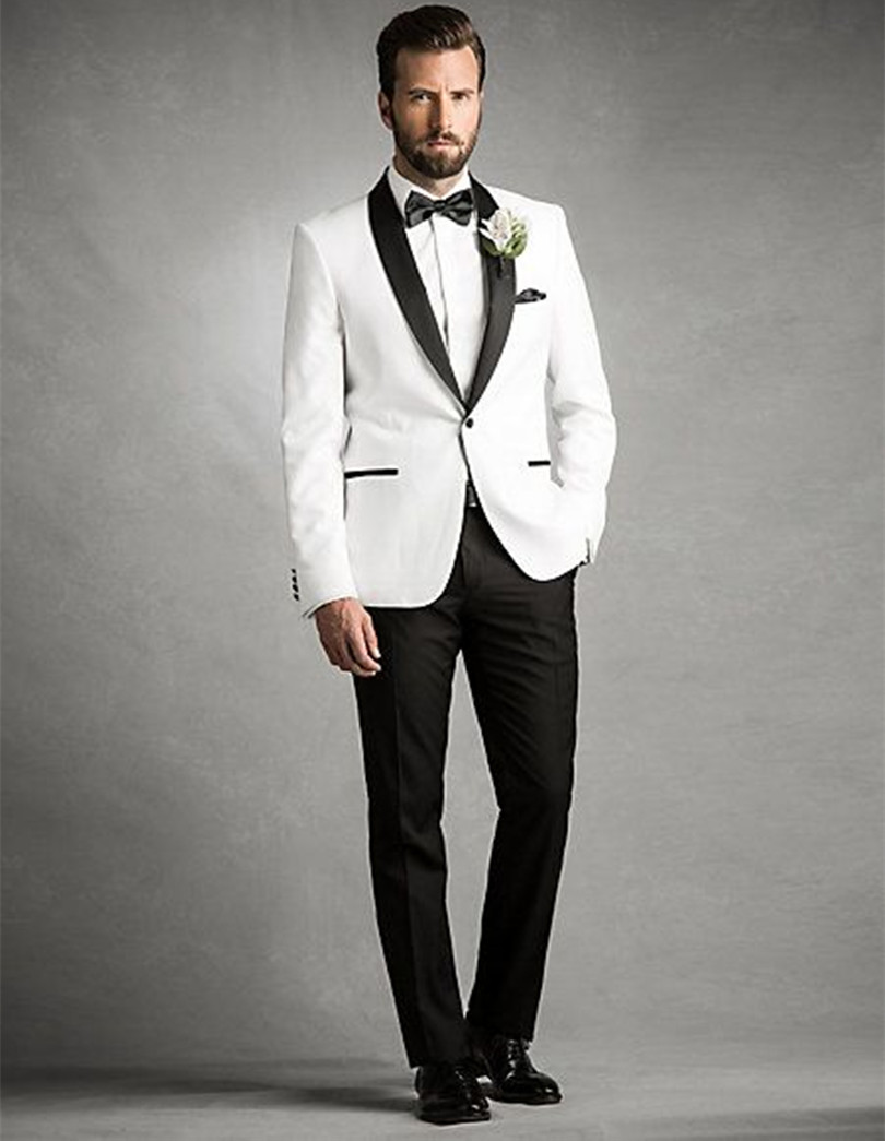 wedding tuxedo groom wear prom suits men white for 2018 custom made suit high quality fr ...