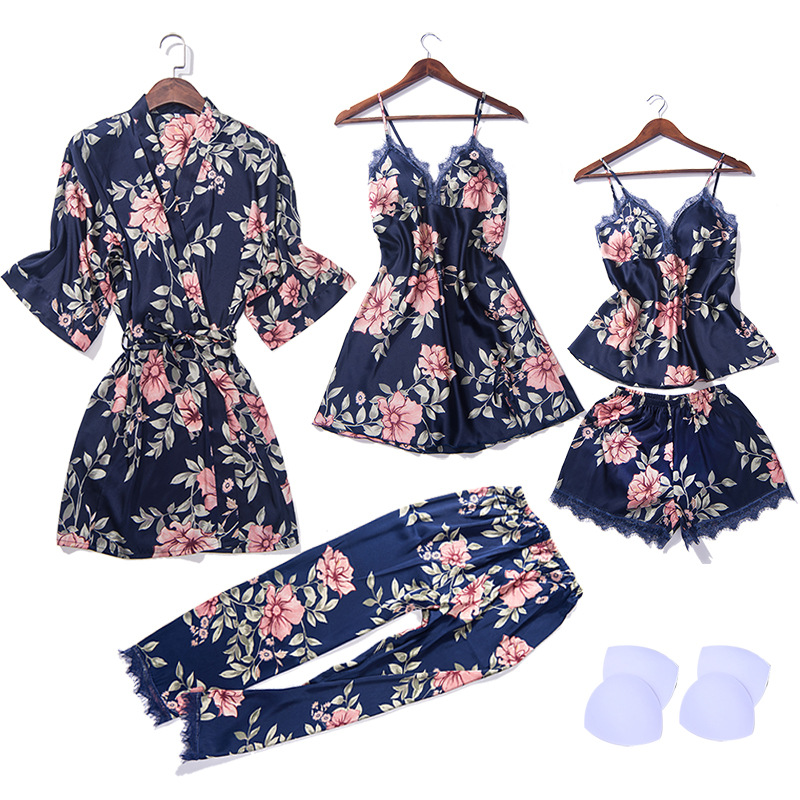 2019 tops 5 piece   pajamas   for women flower print clothes   pajamas     set   home suit sleepwear summer sexy clothing