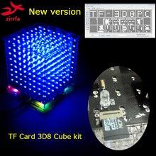 Nouveau 3D 8 S 8x8x8 mini lumière cubeeds kit pour TF carte maison animation, led électronique diy kit