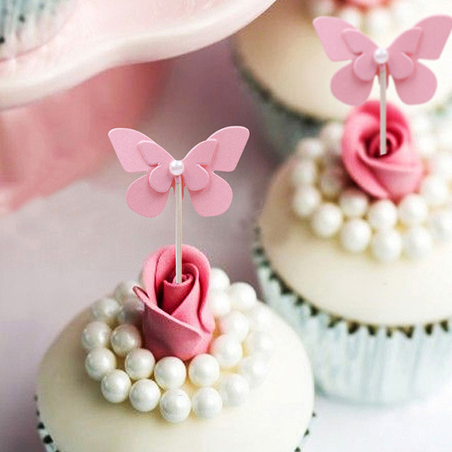 5 Pcs Lot Pink Flying Butterfly Cake Topper Birthday Decoration Baby Shower Kids