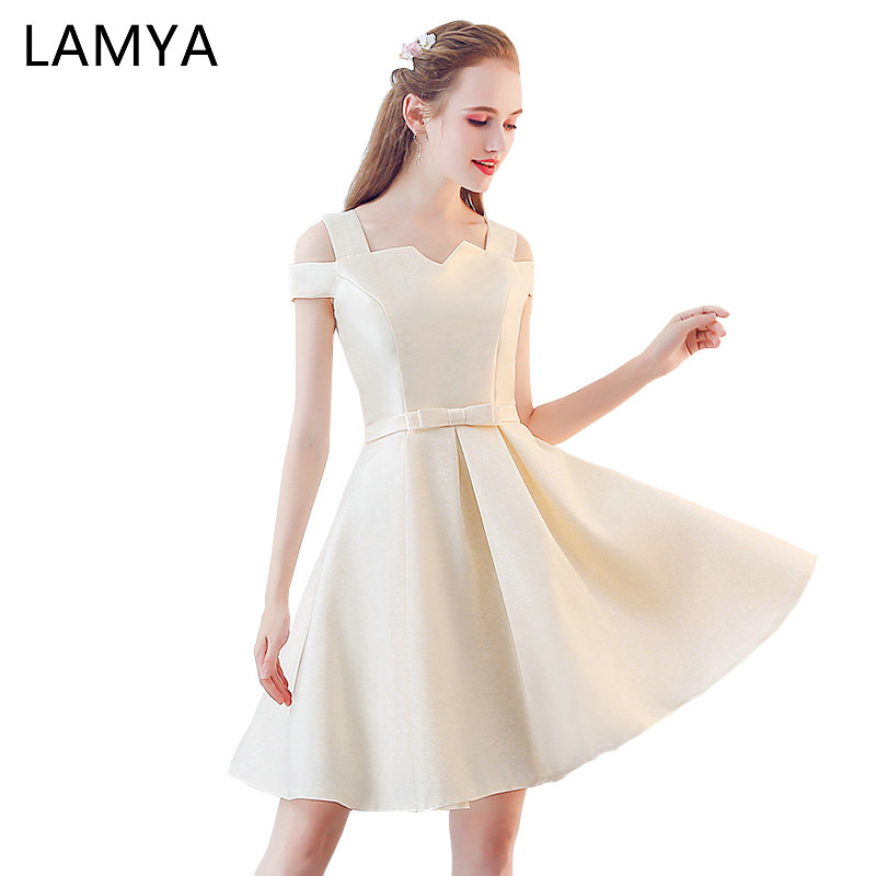 Lamya Cheap Satin Prom Dresses Elegant A Line Evening Party Dress