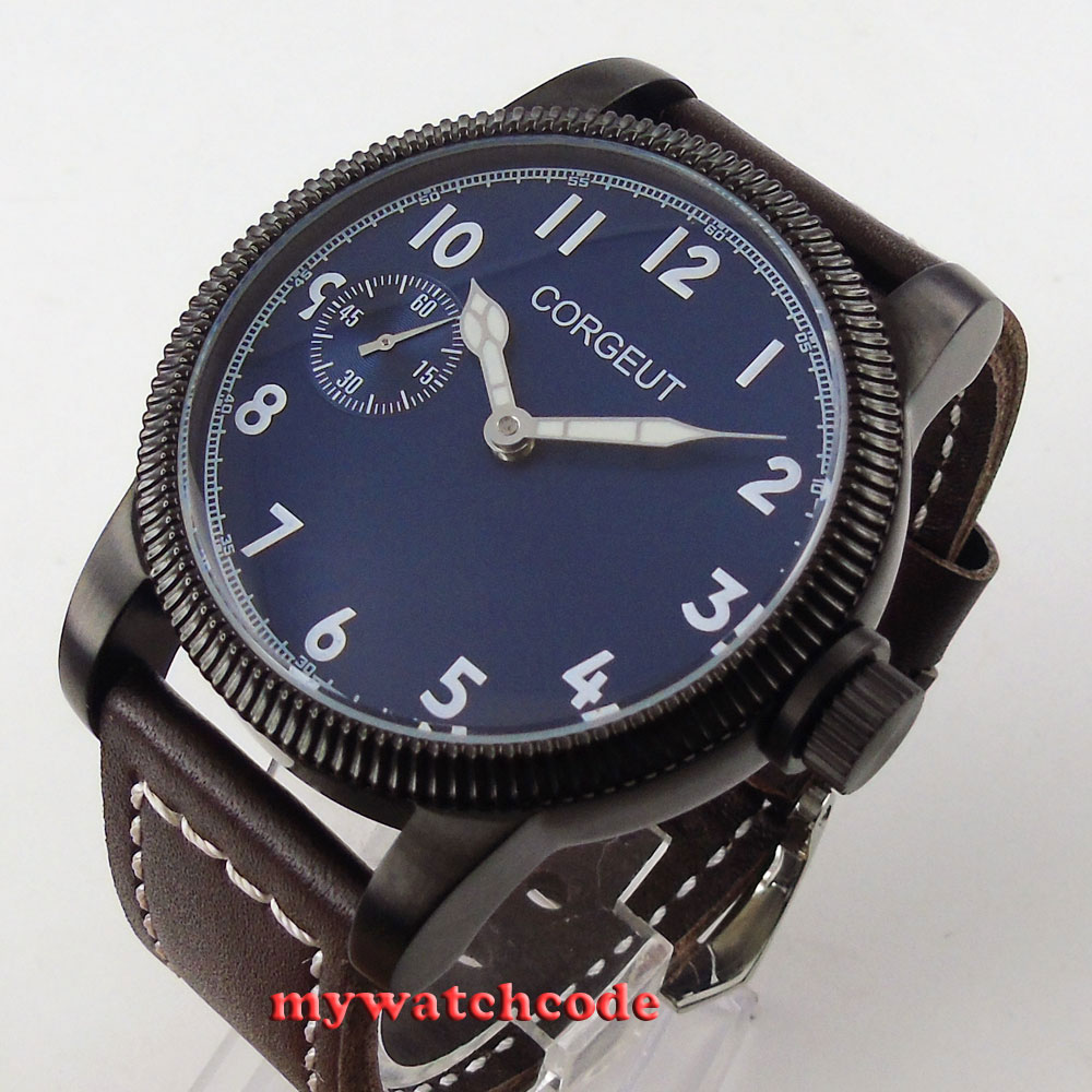 46mm corgeut blue dial black PVD case 6497 movement hand winding mens watch C61 46mm corgeut gray dial pvd case tripe day quartz chronograph mens watch c30