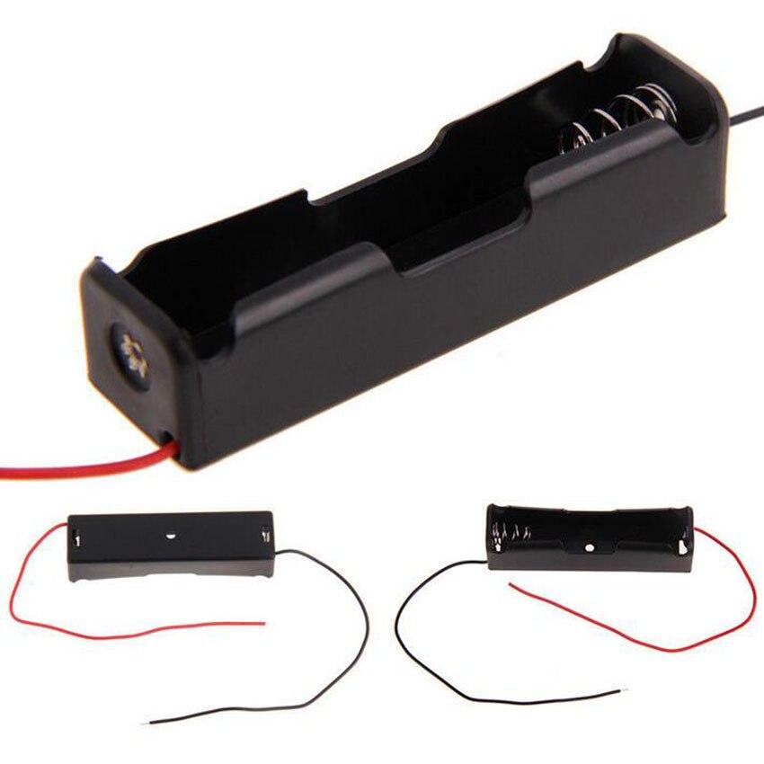 Высокое Качество Электронный DIY Пластиковый черный 18650 Держатель батареи 3,7 В клип-кейс с проводом свинцовый аккумулятор для хранения