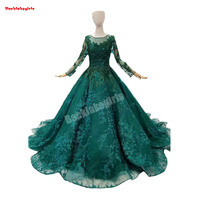 963214 Aqua Green Wedding Dresses Long Sleeve Flowers With Beading Prom Gown