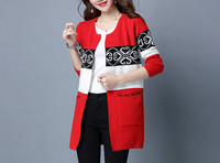 Spring Women S Cardigans Sweater Casual Warm Long Design Female Knitted Sweater Printed Cardigan Coat Vintage