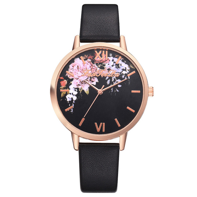 Causal Watches Women Ladies PU Leather Band Flower Pattern Round Case Quartz Wri