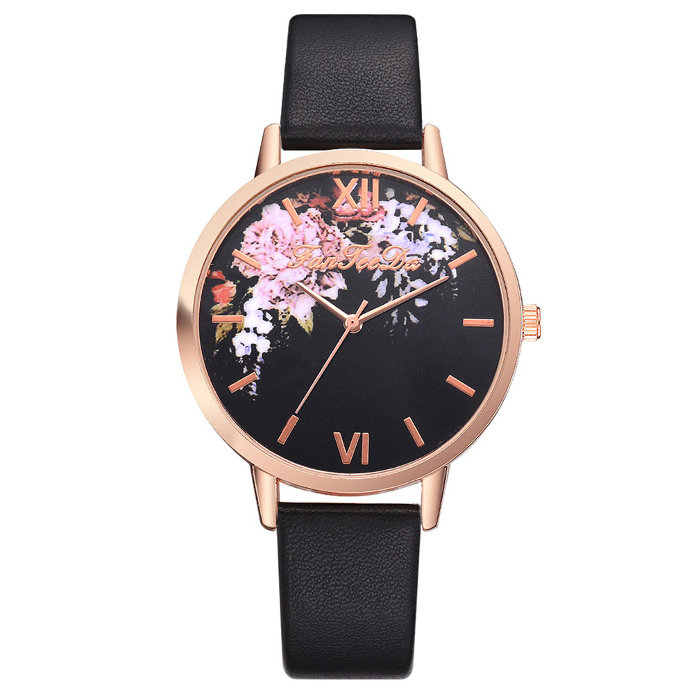 Fashion Dress Watches For Women Causal PU Leather Band Flower Pattern Quartz Wrist Watch Watches relogio feminino Clock Hours