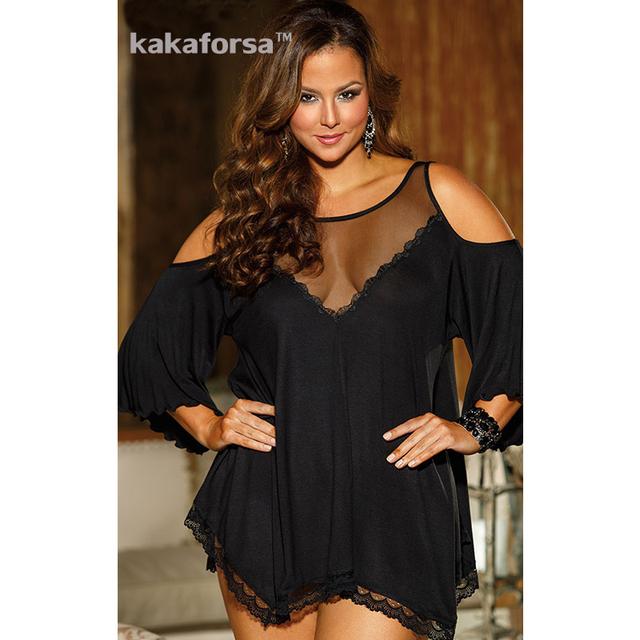 Kakaforsa Mulheres Sexy Underwear Acrílico Plus Size Lingerie Hot Erotic Lingerie Longo Vestidos Oco Out Sólidos Vestuário Sleepwear
