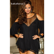 Kakaforsa Women Sexy Underwear Acrylic Plus Size Lingerie Hot Erotic Long Lingerie Gowns Hollow Out Solid Sleepwear Apparel
