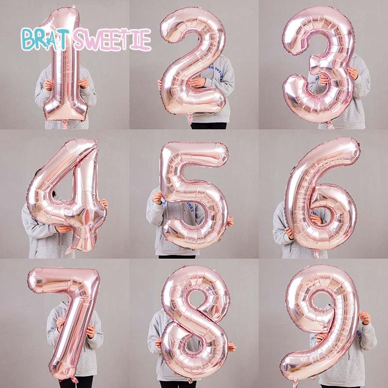 40inches Pink Rose Gold Silver Number Foil Balloons Baby One First 1st Happy Birthday Party Decorations New Year Decor