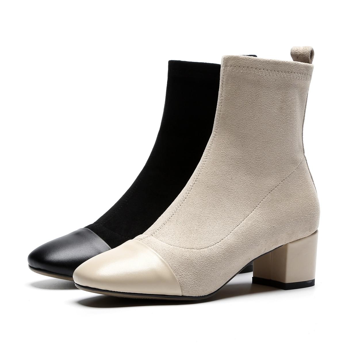Chaussures Sur Noir Cuir En Bottes Hiver Femme Automne Cheville Véritable Stretch Nouvelle Borwn apricot Esrfiyfe Casual Gris Mode Slip vnwN0m8
