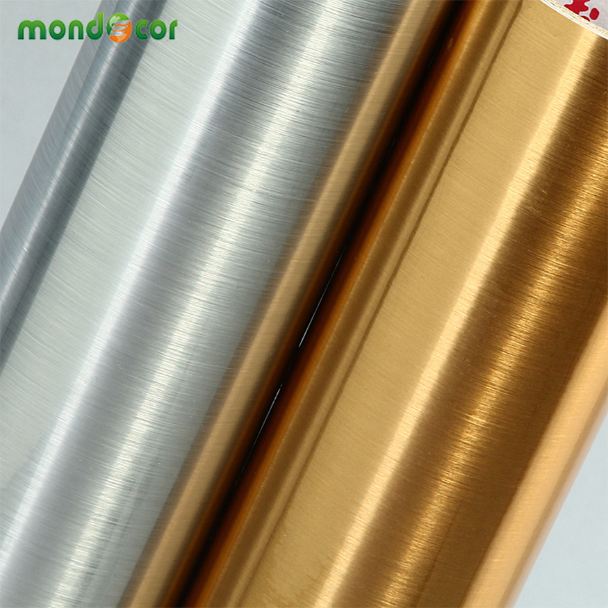 Stainless Steel Brushed Silver PVC Vinyl Waterproof Self Adhesive Wallpaper Roll Home Appliance Kitchen Cabinet Furniture Decor