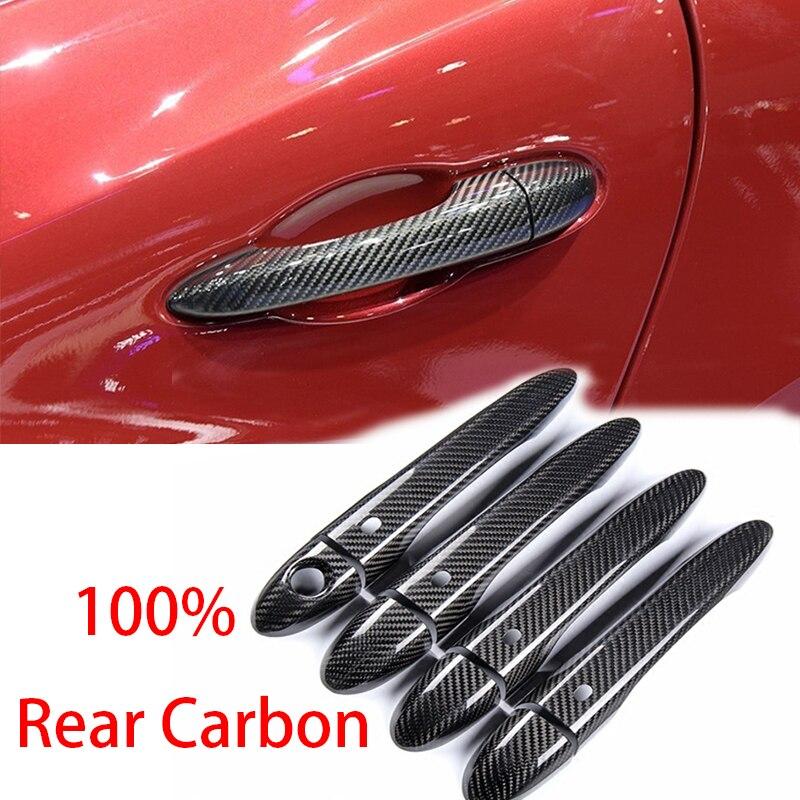 Haute qualité 100% vraie fibre de carbone Auto porte extérieure poignée couverture pour Maserati Ghibli quattroporte Levante LHD voiture style
