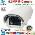 1920 P 5MP Cámara IP Onvif 5 Megapxiel WDR Varifocal lente HD cámara CCTV al aire libre cámara ip infrarrojos P2P bullet Cámaras IP a prueba de agua